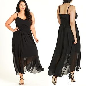 City Chic Black Shirred Waist Maxi Dress